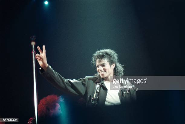 Pop singer Michael Jackson performs onstage during his 'Bad World Tour' in 1988