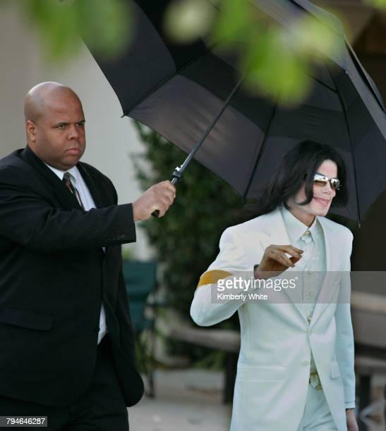 Pop singer Michael Jackson smiles as he walks out of Santa Barbara County courthouse on the first day of jury selection for his trial Jackson was...