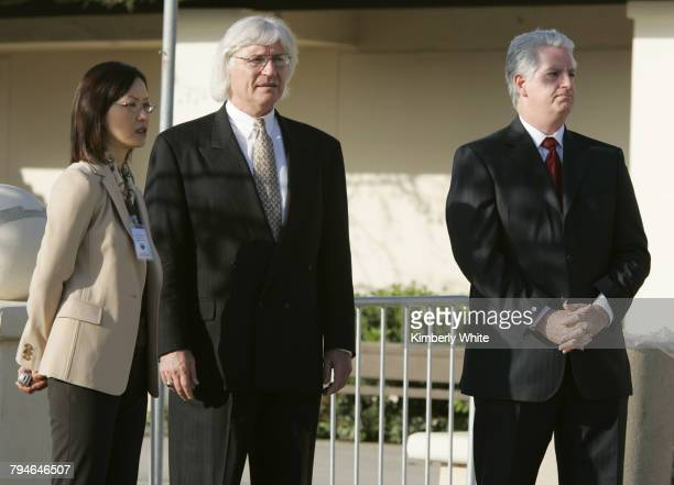 Pop singer Michael Jackson's defense team Susan Yu Thomas Mesereau Jr and Brian Oxman wait for his arrival at the Santa Barbara County Courthouse The...