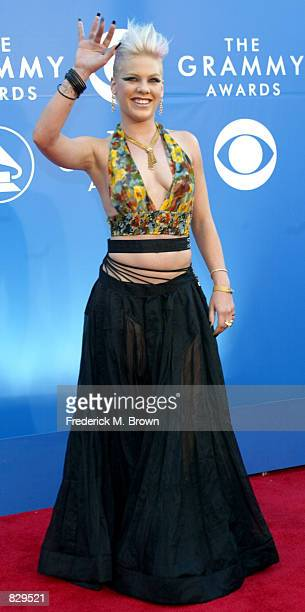 Pop singer Pink attends the 44th Annual Grammy Awards at Staples Center February 27 2002 in Los Angeles CA