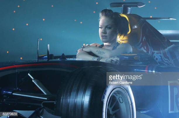 Pop singer Pink performs during the Red Bull Racing Formula One Team Launch at Melbourne Docklands on March 3 2005 in Melbourne Australia