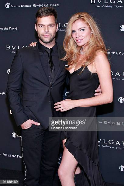 Pop singer Ricky Martin and model/actress Esther Canadas attend the Bulgari auction to benefit Save the Children's Rewrite the Future at Christie's...