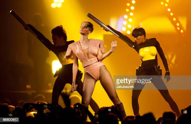 Pop singer Rihanna performs live during a concert at the O2 World on May 2, 2010 in Berlin, Germany. The concert is part of the 2010 tour to promote...