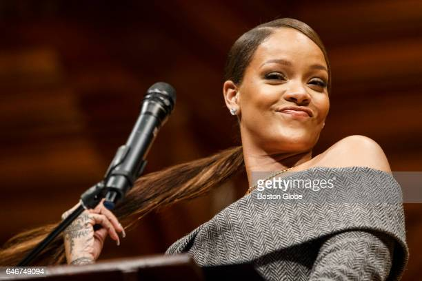 Pop singer Rihanna speaks after receiving the Harvard Humanitarian of the Year at the Sanders Theater in Cambridge MA on Feb 28 2017