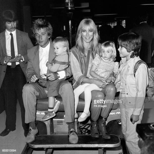 Pop singer Rod Stewart arriving from Los Angeles with his wife Alana and children Sean 18 months Kimberly three and Ashley six