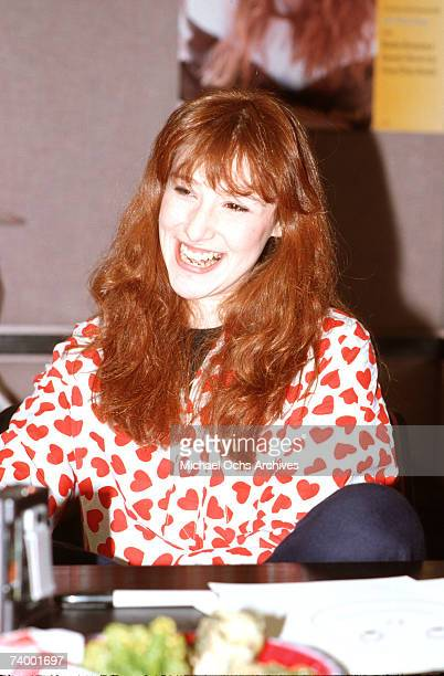 Pop singer Tiffany at a press conference in 1987