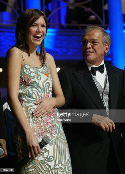 Pop singer/actress Mandy Moore and actor John Spencer attend a gala March 3 2002 at Fords Theatre in Washington DC The Fords Theatre held a gala...