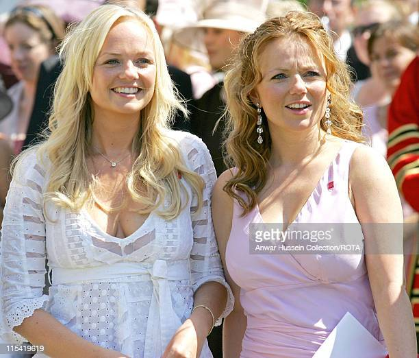 Pop singers and former Spice Girls Emma Bunton and Geri Halliwell at a Buckingham Palace Garden party in London July 14 in honour of Celebrity...