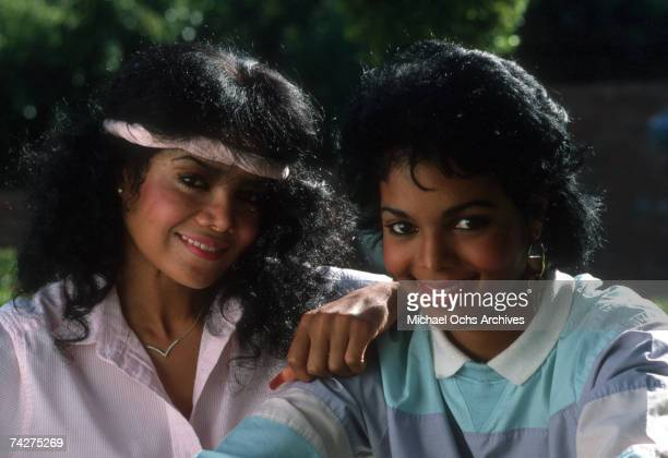 Pop singers and sisters Janet Jackson and LaToya Jackson pose for a portrait session in August 1985 in Los Angeles California