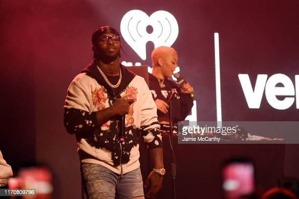 Pop Smoke performs on stage with French Montana at iHeartRadio Live and Verizon Bring You French Montana in New York City at Webster Hall on August...