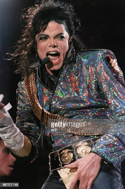 US pop star and entertainer Michael Jackson performs during his first date in Great Britain at Wembley Stadium on July 30 1992 Michael Jackson died...