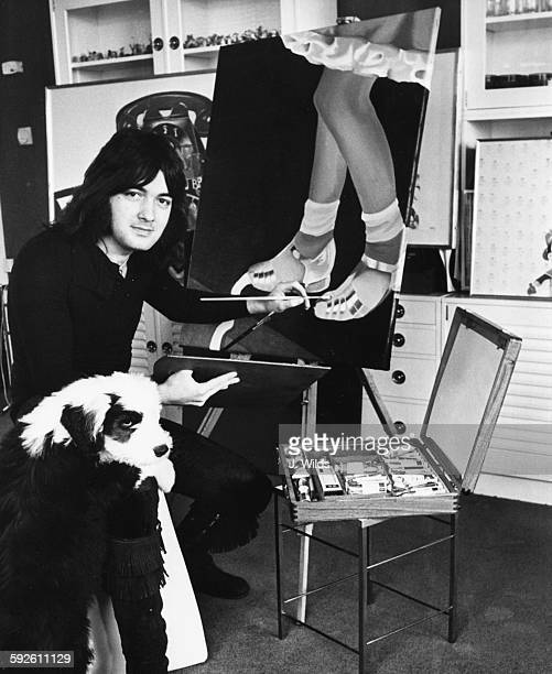 Pop star Barry Ryan at work on one of his paintings with his sheep dog Elvis at his side which will be part of his art exhibition in Cologne soon at...