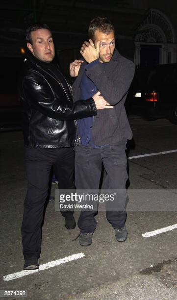 Pop Star Chris Martin attends Kate Moss' 30th birthday party at the home of Agent Provocateur owner Serena Rees on January 16 2004 in London