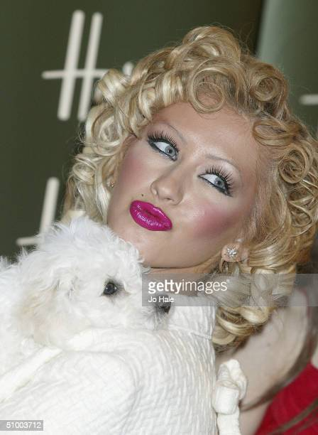 Pop star Christina Aguilera officially opens the Harrods Summer sale on June 28 2004 at the Knightsbridge store in London