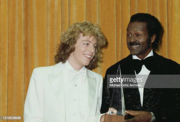 Pop star Leif Garrett with rock and roll musician Chuck Berry at the American Music Awards in Santa Monica California 18th January 1980