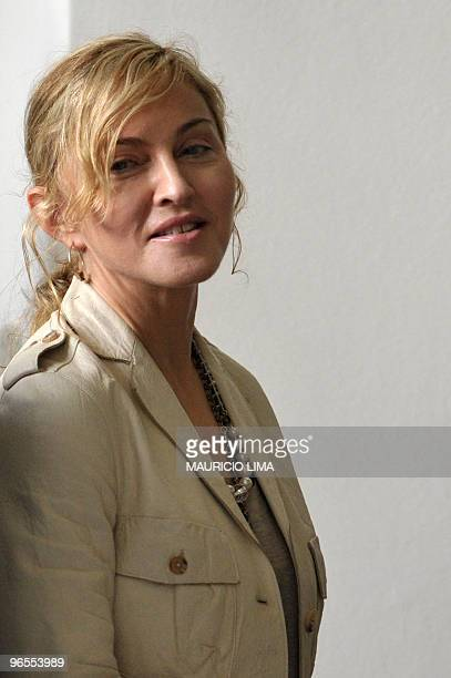 US pop star Madonna is seen as she leaves the Bandeirantes Palace after a private meeting with Sao Paulo's governor Jose Serra in Sao Paulo Brazil on...