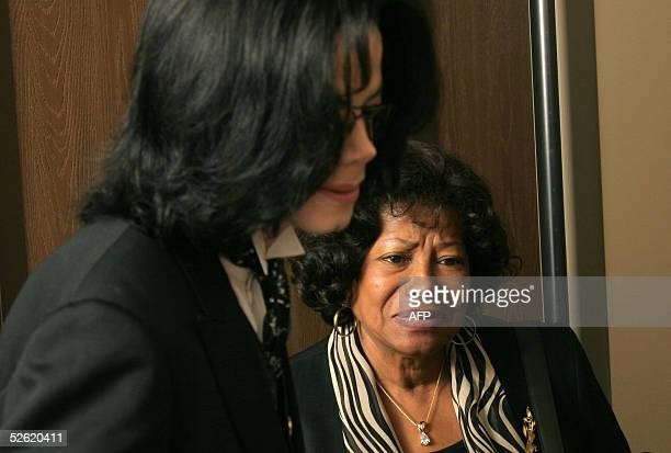 US pop star Michael Jackson and his mother Katherine Jackson exit the Santa Barbara County courthouse 12 April 2005 in Santa Maria California during...