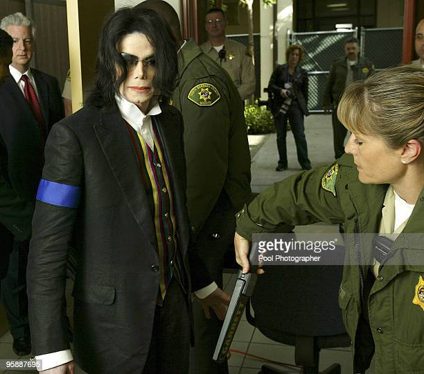 Pop star Michael Jackson arrives at the Santa Barbara County Courthouse in Santa Maria California Monday March 21 2005