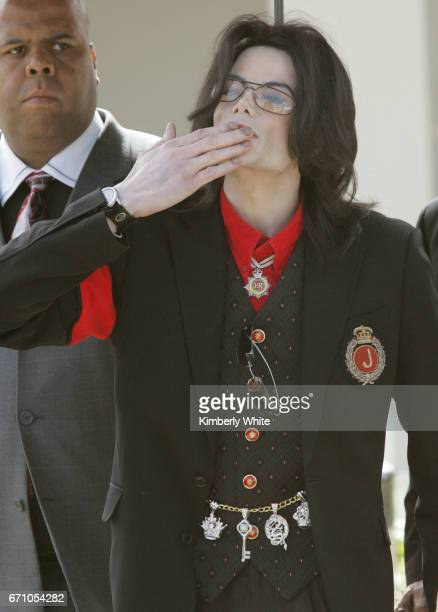 Pop star Michael Jackson blows a kiss to fans on leaving the Santa Barbara County Superior Court in Santa Maria Jurors in Jackson's child molestation...