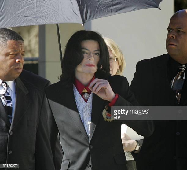 US pop star Michael Jackson departs after attending jury selection 01 February 2005 at the Santa Barbara County Court in Santa Maria CA Jackson's...