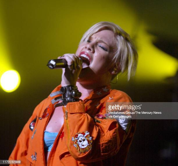 Pop star Pink performs at The Warfield in San Francisco.