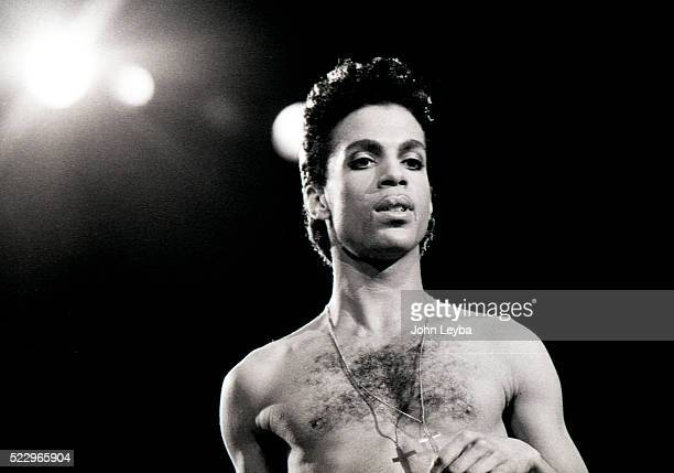 Pop star Prince performs during a tour stop in Denver at McNichols Arena July 1986. The pop star died Thursday morning at his Paisley Park estate in...