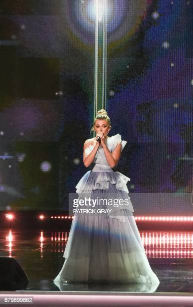 Pop star Rachel Platten performs on stage during the 2017 Miss Universe Pageant on November 26 2017 in Las Vegas Nevada Beauties from across the...