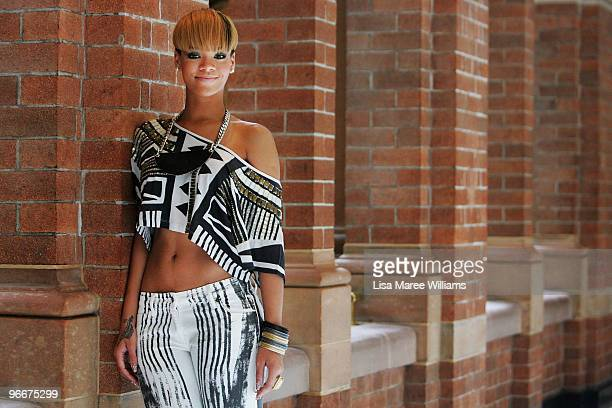 Pop star Rihanna attends a photo call during a short promotional tour in Sydney for her new album 'Rated R' at the Intercontinental Hotel on February...