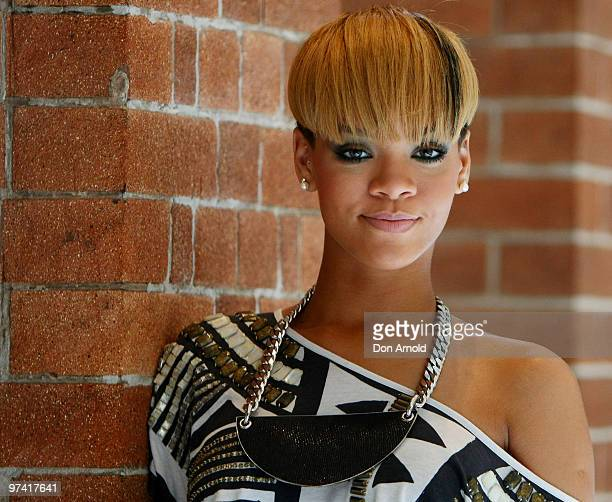 Pop star Rihanna attends a photo call during a short promotional tour in Sydney for her new album Rated R at the Intercontinental Hotel on February...