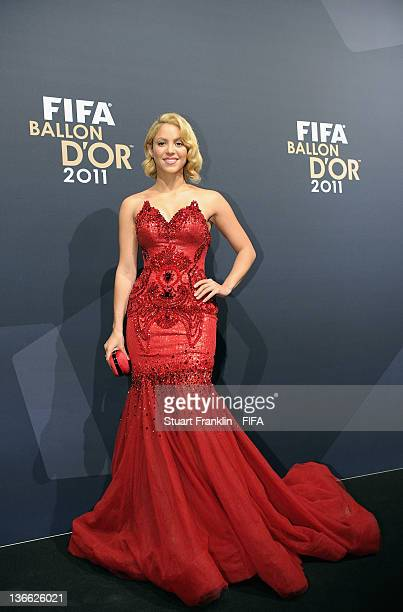 Pop star Shakira poses for photos after arriving at the FIFA Ballon d'Or Gala 2011 at the Kongresshaus on January 09 2012 in Zurich Switzerland