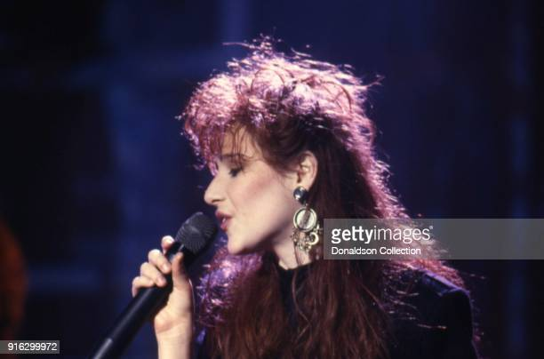 Pop star Tiffany performs on a TV show in 1987 in Los Angeles California