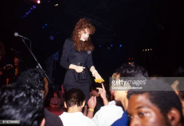 Pop star Tiffany performs on a TV show in 1987 in Los Angeles, California.