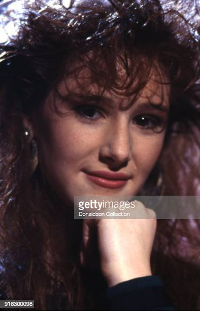 Pop star Tiffany poses for a portait on a TV show in 1987 in Los Angeles, California.