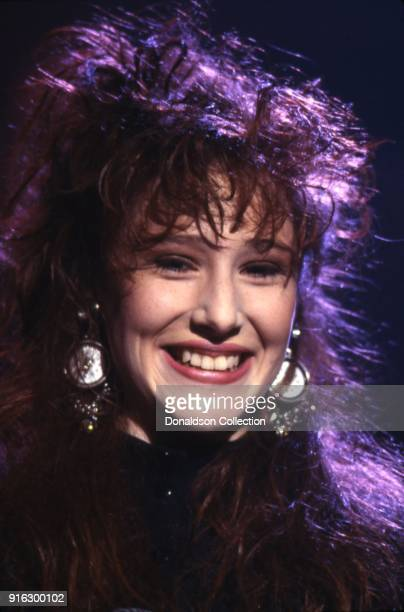 Pop star Tiffany poses for a portait on a TV show in 1987 in Los Angeles California
