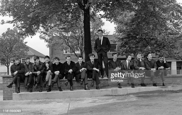 Manager Brian Epstein pictured with some of the groups he manages these include The Beatles Gerry The Pacemakers Billy J Kramer The Dakotas Tuesday...