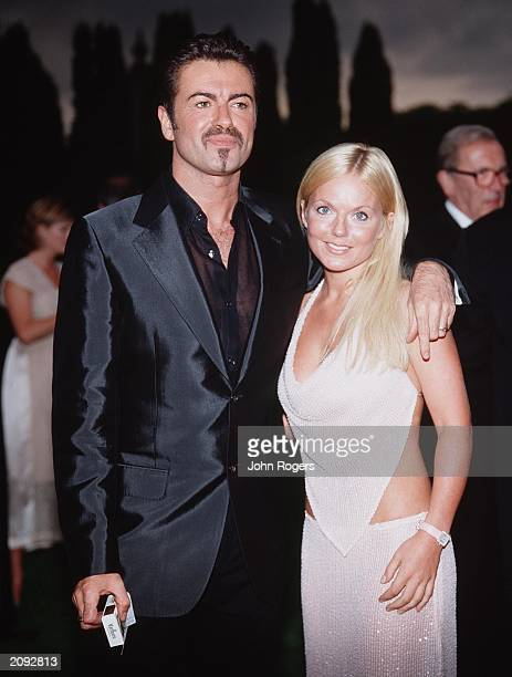 Pop stars George Michael and Geri Halliwell at the White Tie and Tiara Ball held at Elton John's Windsor mansion in London on July 5 2001 The gala...