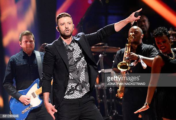 US pop superstar Justin Timberlake preforms his new singel Can't Stop The Feeling during the dress rehearsal for the Eurovision Song Contest 2016...