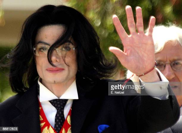 Pop superstar Michael Jackson departs the Santa Barbara Superior Court in Santa Maria California at the end of the 52nd day of Jackson's child...