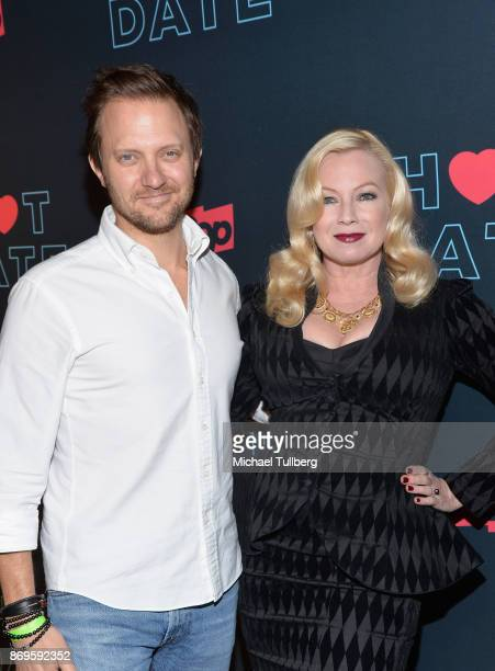 Pop TV President Brad Schwartz and actress Traci Lords attend the premiere of Pop TV's 'Hot Date' at Estrella on November 2 2017 in West Hollywood...