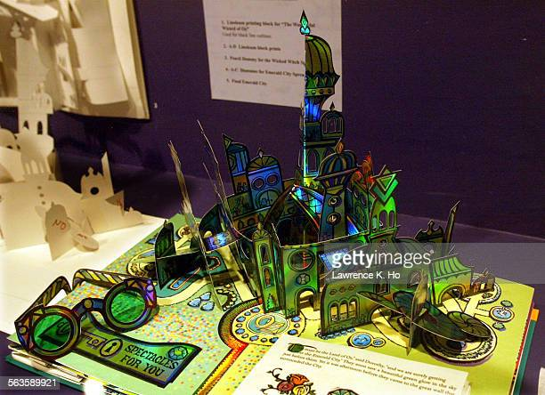Pop Up art and books on exhibit at the LA Central Library. Pic. Shows a book Wonderful World of OZ written by Frank Baum and illustrated, designed...