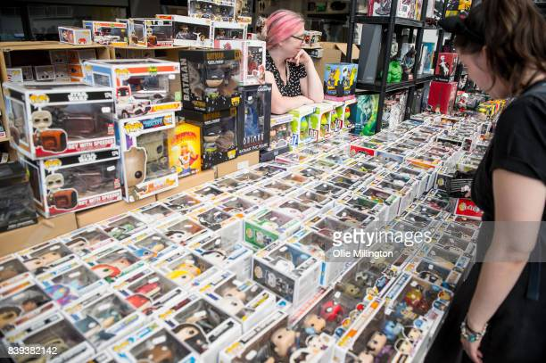 Pop Vinyl Funkos for sale during Day 1 of the London Super Comic Con at Business Design Centre on August 25 2017 in London England