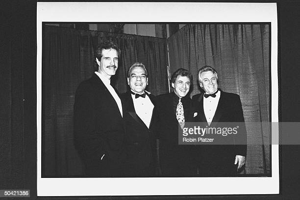 Pop vocal group Frankie Valli the Four Seasons incl Frankie Valli Bob Gaudio Nick Massie Tom DeVito at the Rock Roll Hall of Fame induction banquet...