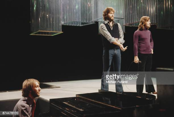 Pop vocal trio The Bee Gees during rehearsals circa 1979
