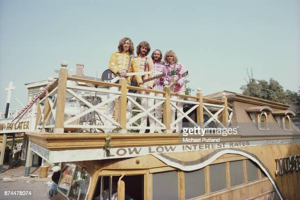 Pop vocal trio the Bee Gees in costume on the set of musical comedy film 'Sgt Pepper's Lonely Hearts Club Band' directed by Michael Schultz Los...