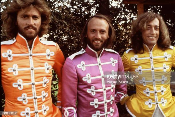 Pop vocal trio the Bee Gees in costume on the set of the film 'Sgt Pepper's Lonely Hearts Club Band' directed by Michael Schultz Los Angeles October...