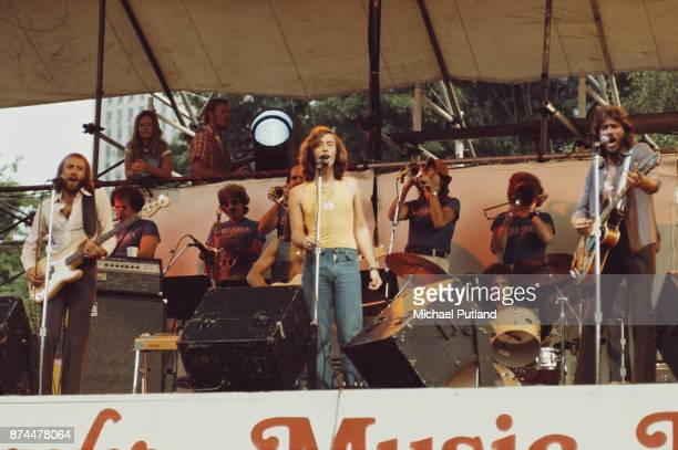 Pop vocal trio the Bee Gees performing at Schaefer Music Festival New York 9th July 1975 Left to right Maurice Gibb Robin Gibb and Barry Gibb
