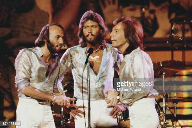 Pop vocal trio the Bee Gees performing at the Music for UNICEF Concert at the United Nations General Assembly in New York City 9th January 1979 Left...