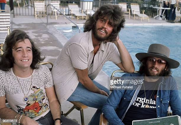 Pop vocal trio the Bee Gees, USA, 1975. Left to right: Robin, Barry and Maurice Gibb .