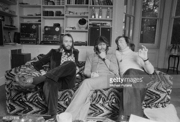 Pop vocal trio The Bee Gees Windsor Berkshire February 1974 Left to right Maurice Gibb Barry Gibb and Robin Gibb