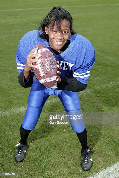 Pop Warner Football Closeup portrait of the Harvey Colts QB Jasmine Plummer first girl to play QB in 56 year history of Junior Pee Wee League...